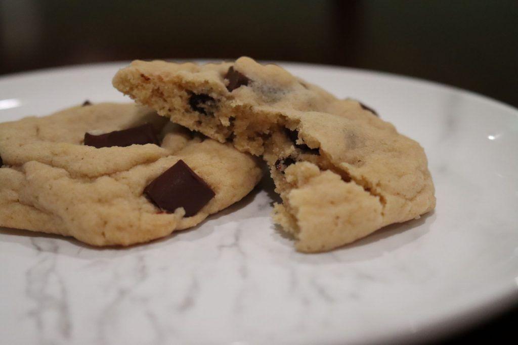 half-eaten chocolate chip cookie