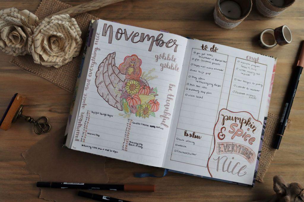 november bullet journal monthly spread