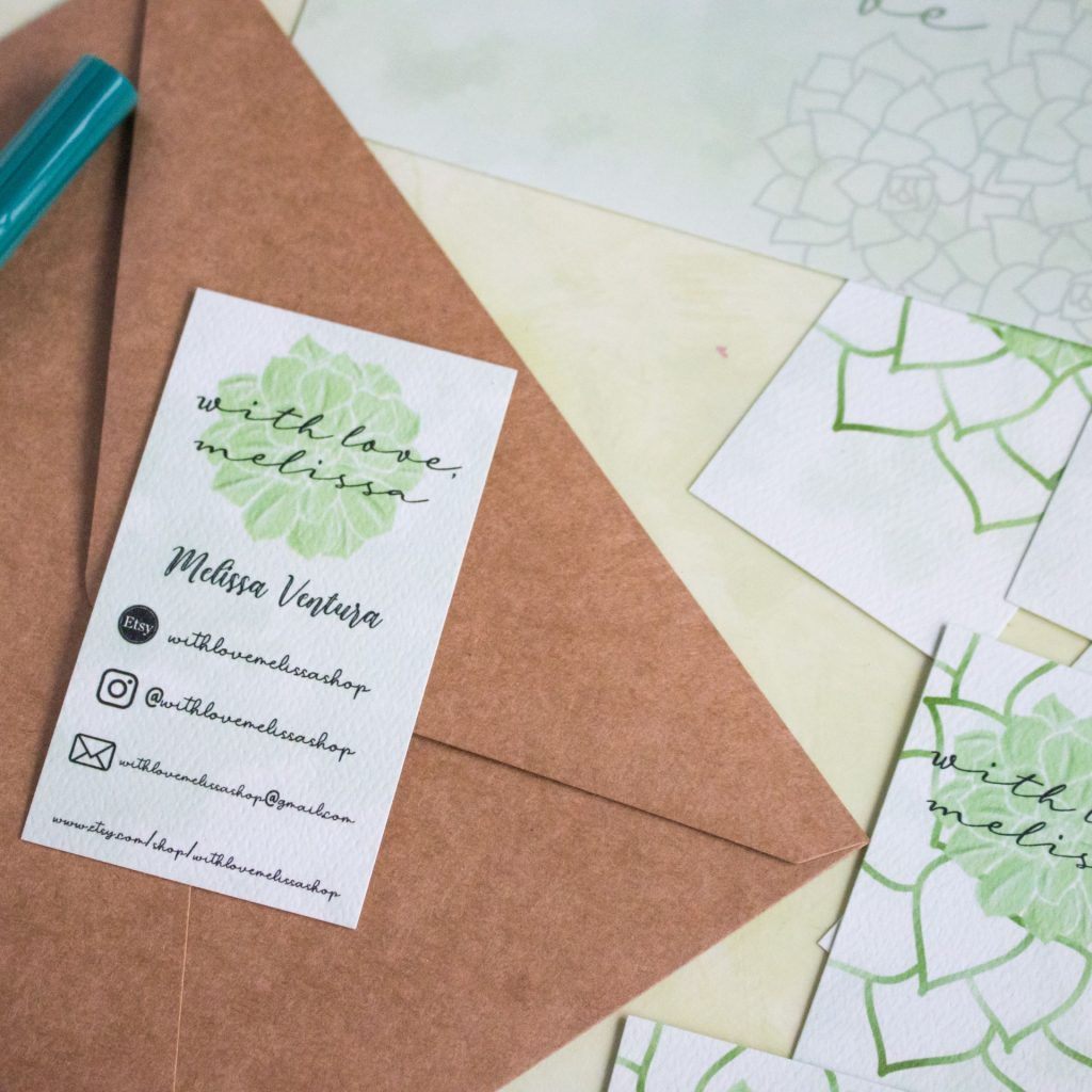with love melissa shop business card