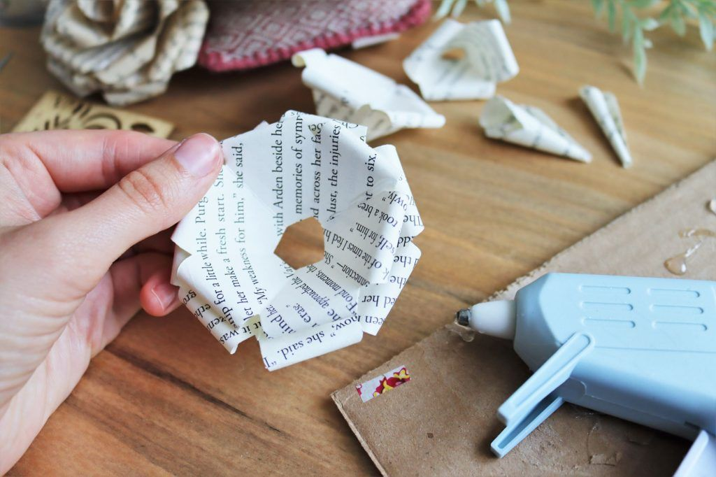 book page paper roses